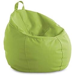 textil-home Puf - Puff Cesta Infantil moldeable - L - 60x60x60 cm- Color Pistacho. Tejido Polipiel Alta Resistencia - Doble repunte - (Incluye Relleno Bolas Poliestireno).