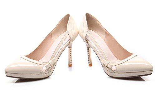 YE Damen Elegant High Heels Plateau Spitze Geschlossen Lack Stiletto Pumps mit Schleife 9cm Absatz Party Work Schuhe Beige