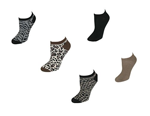 K. Bell Women's Solid colour/Animal Print No Show Ankle Socks (Pack of 12)