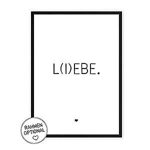L(I) EBE - Kunstdruck auf wunderbarem Hahnemühle Papier DIN A4 -ohne Rahmen- schwarz-weißes Bild Poster zur Deko im Büro/Wohnung/als Geschenk Mitbringsel zum Geburtstag etc. - Lebe Liebe