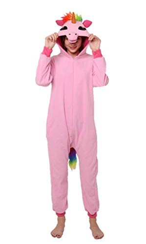 Einhorn Pyjamas Kostüm Jumpsuit Tier Schlafanzug Erwachsene (L fit for Height 165-175CM (65