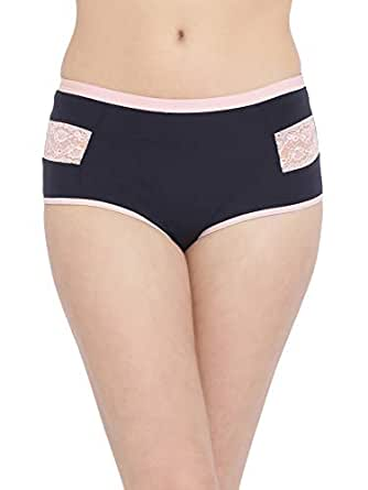 Clovia Women's High Waist Hipster Panty with Lace Inserts in Black - Cotton