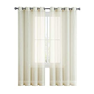 AsaTex Crushed Grommet Semi-Sheer Window Curtains by Set of Two (2) - 84 Inch Long - Total Width 108 Inch (54 Inch Wide Each Panel, Beige)