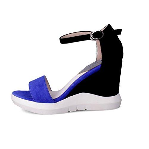 Damen Sandalen Nubukleder Einfach Schick Keilabsatz Bequem Fischkopf Atmungsaktive Schnalle Halbschuhe Rutschfest Abriebfeste Blau