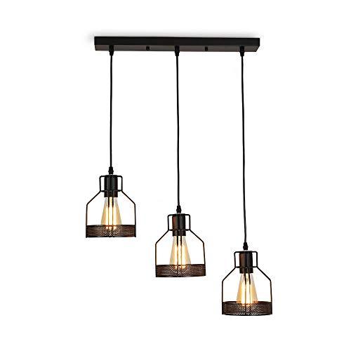 Vintage Retro Edison Loft Pendelleuchte,Retro Industrielle Deckenleuchte Eisen,Deckenpendelleuchte für Küche Esszimmer (3-Licht) -