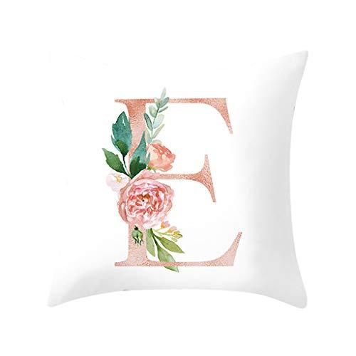 Deloito Nordisch Wind 26 Englische Buchstaben Kissenbezüge Rosa Rose Blume Gedruckt Pfirsichhaut umarmen Kissenhülle für Sofa Haus Decor (E,45x45cm) -