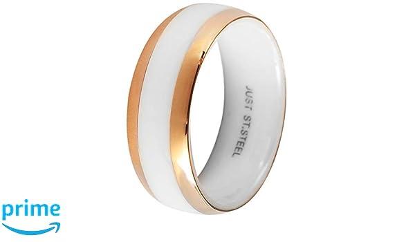 Just Damenring Edelstahl Ring Goldfarbig Stein Schwarz Elegant Verlobungsring