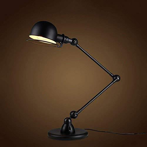 XHJJDJ Swing Arm Schreibtischlampe, Tischlampe, zusätzliche LED-Lampe, Metallstruktur, verstellbare Schattenposition, Architekt Lampe für Büro/Home / Dorm-Black -