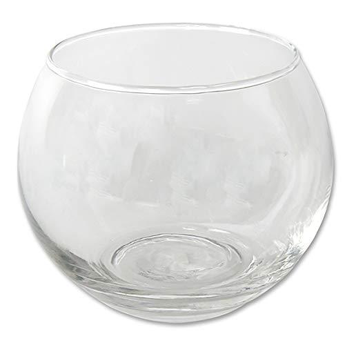 12 x kleine Teelichtgläser rund H 7 cm - Windlichter - Teelichthalter - Kugelvasen - Vasen - Kugelglas - Glaswindlichter
