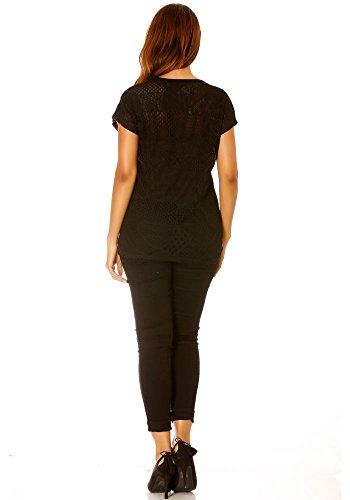 dmarkevous - Tee-shirt à pois, dos en dentelle Noir