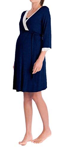 Targogo Morgenmantel Damen Umstandsmode Nachthemd Elegant 3/4 Arm V-Ausschnitt Spitze Spleiß mit Gürtel Kurz Bademantel Umstandskleidung Pyjama Nachtwäsche Schwangere Festlich Bekleidung Mädchen