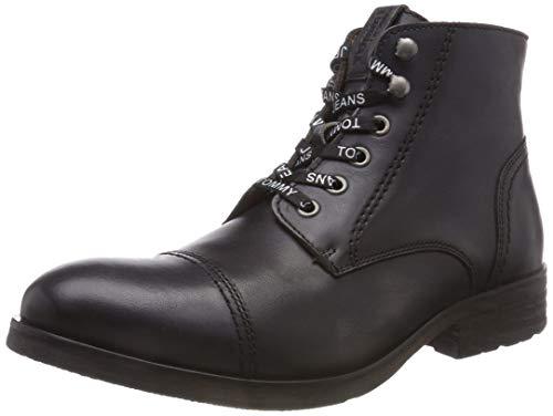 Hilfiger Denim Herren Dressy Leather LACE UP Combat Boots, Braun (Dark Shadow 028), 44 EU