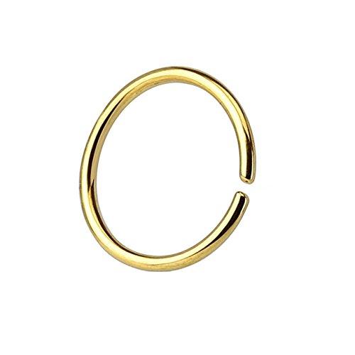 Paula & Fritz® runder biegbarer UNIVERSAL FAKE Hoop Ring 6mm lang 0.8mm dick gold Segmentring Septum Tragus Helix Cartilage Nasen-piercing Ohrklemme Nostril Chirurgenstahl Titan (Gold Hoop Ohrringe)