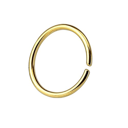 Paula & Fritz® runder biegbarer UNIVERSAL FAKE Hoop Ring 6mm lang 0.8mm dick gold Segmentring Septum Tragus Helix Cartilage Nasen-piercing Ohrklemme Nostril Chirurgenstahl Titan