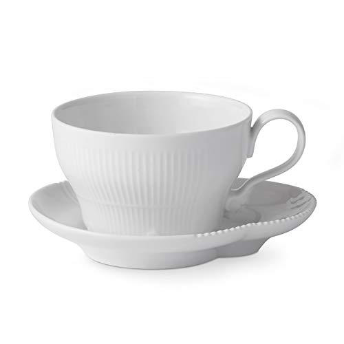 Royal Copenhagen White Elements Cup and Saucer 26cl - Royal Copenhagen Elements