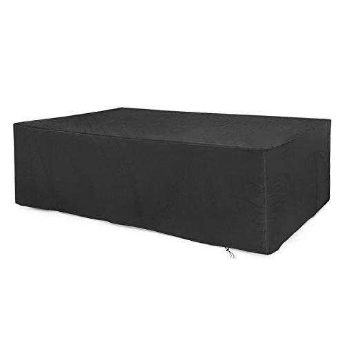 Dokon Abdeckung für Gartenmöbel 420D Oxford-Gewebe Gartenmöbel Schutzhülle, Rechteckig (200x160x70cm) - Schwarz