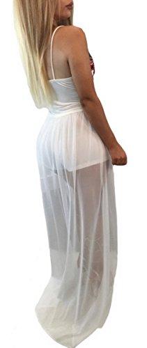La Vogue-Estate Vestito Lunga Donna Abito Scollo V Tuta con Ricamo Fiori Bianco
