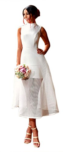 ASCHOEN - Robe - Uni - Sans Manche - Femme Blanc