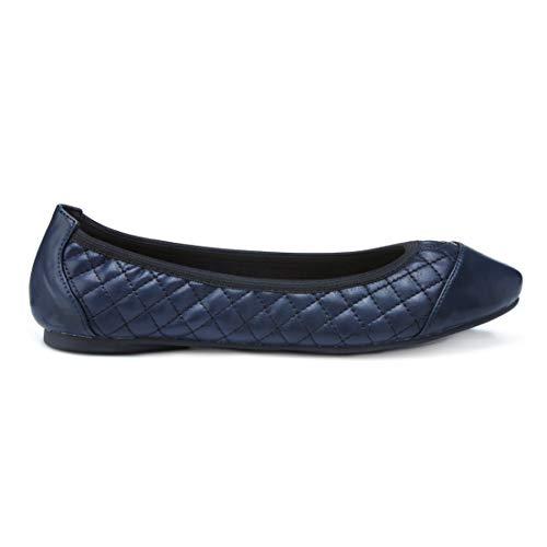 Cocorose Faltbare Schuhe - Greenwich Damen Ballerinas - Quilted Navy - größe 40 - London Sole Ballerinas