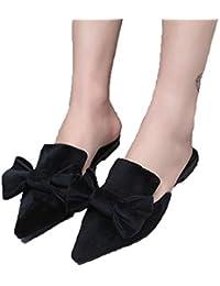 wholesale dealer 9f91f 98bf6 WYHUI Mules Chaussures d été Fleurs pour Femme Sandales Plates Pointu  Chaussons Femme Slides Noir Rose Vert Chaussures Rihanna…