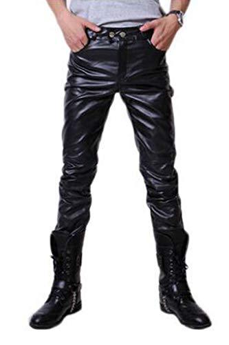 Los Hombres Pantalones Casuales Pantalones De Cuero De La PU Larga Moto Club De Noche Black M