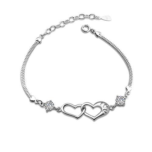 Gespout braccialetto per donna argento catena dell'osso del serpente ciondolo doppio cuore bigiotteria donna bracciali ideale regalo per compleanno, natale, matrimonio, san valentino
