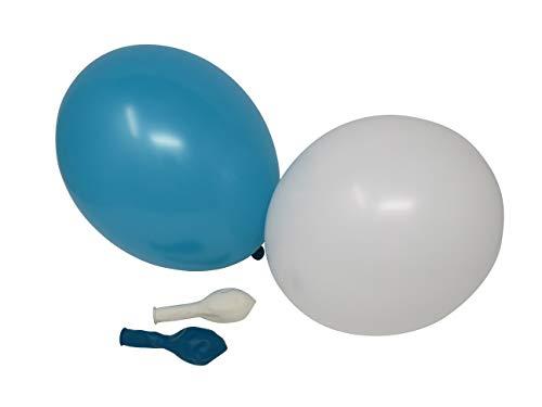 50 Luftballons je 25 türkis & weiß Qualitätsballons 27 cm Ø (Standardgröße B85)