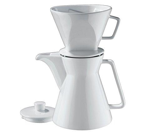 Cilio 106060 Kaffeekanne Vienna 1L inkl. Filter Größe 4, Porzellan, Weiß, 29 x 14 x 17 cm
