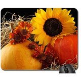 Pumpkin and autumn flowers Mouse Pad, Mousepad (Flowers Mouse
