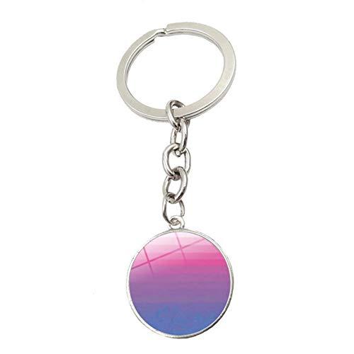 DCFVGB Schlüsselbund Pride Rainbow Flag Glas Anhänger Schlüsselbund Schmuck Silber Metall Schlüsselbund Ring Inhaber Kreative Geschenke (Schmuck-geschenk-card-inhaber)