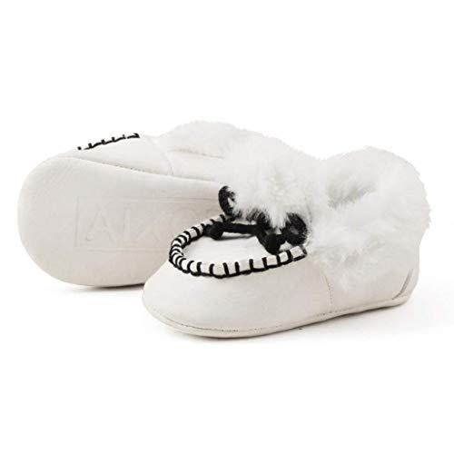 Fuxitoggo Baby Erwärmung Schuhe, für 0-18 Monate Baby, Mode Neue Nette Bequeme rutschfeste weiche Sohle Stiefel Kleinkind Schuhe (Farbe : Weiß, Größe : UK:2) 6-zoll-sexy White Schuh