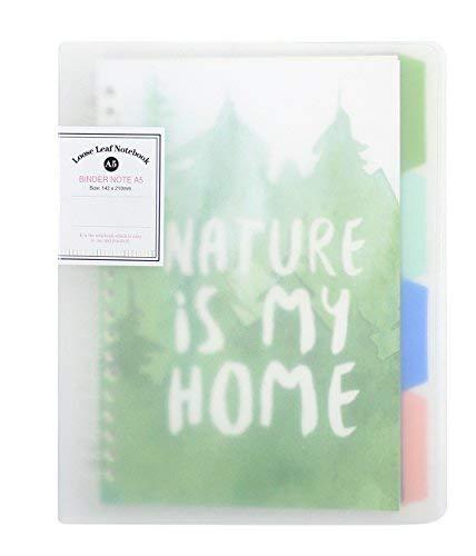 Cute nachfüllbar Notebook Loose Leaf Binder College liniert Schreibpapier Planer Reise Tagebuch mit bunten Index Seiten, A5Größe, 22,6x 18cm A5 A5-Nature