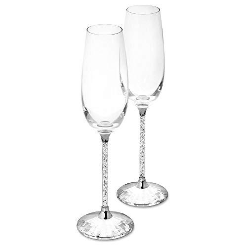 Bulary 2PCS Glas Kristall Basis Strass Champagner Glas Becher