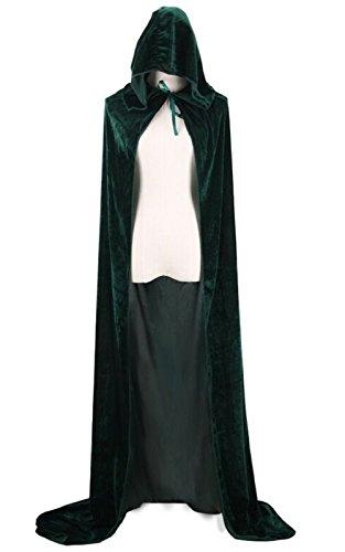 (LANOMI Gothic Mittelalter Hexen Vampir Umhang Cape Party Fasching Karneval Kostüm Velvet für Damen Herren Mädchen Jungen (Grün, 170cm(Die Länge von Kragen bis ende)))