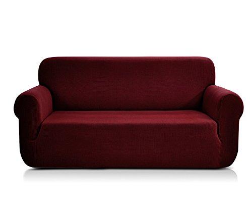CHUN YI Jacquard-Sofa-Bezug, einteiliger Stretch-Schonbezug aus Polyester-Elasthan-Gewebe, wein, Loveseat
