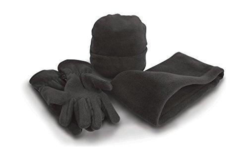 Result Set coordinati invernali Cappello Sciarpa Guanti morbido pile caldo set da 3 pezzi