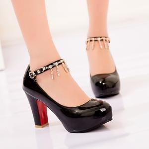 hexiaji 21cm-26.5ccm chaussure femme chaussure haut talon chaussure perle chaussure rose blanche Noir