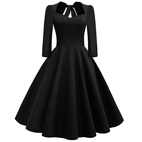 Tatis Damen Rock Ärmel V-Ausschnitt Volltonfarbe Hinter dem Bogen Vintage Kleid Mode Frauen Solide V-Ausschnitt Zurück Aushöhlen Bogen Drapiert Holiday Vintage Dress