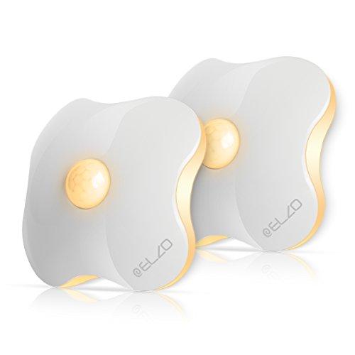 ELZO LED Nachtlicht mit Bewegungsmelder, Lichtsensor und Batteriebetrieben Automatische Abschaltung Nachtlampe für Kinderzimmer, Schlafzimmer und Korridor (2er Set)