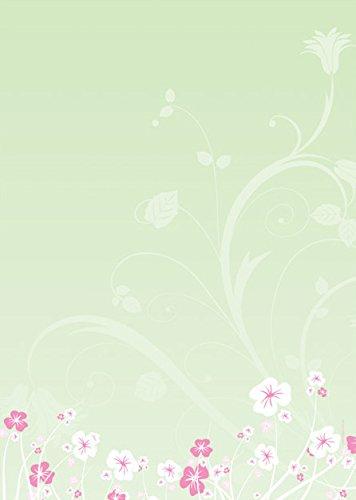 Florales Design Briefpapier Set Blumen-Ranken, 100-teilig mit 50 Blatt Motivpapier DIN A4, 90g/qm...
