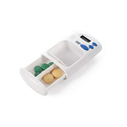 XLanY Pille Timer, Mini Tragbare Tägliche Medizin Kit, 2 Gitter Täglich Elektronische Medizin Pille Box Erinnerung Pille Fall Mit Digitalen Alarm Timer Medikamente Erinnerungen (Timer-pille Fällen)