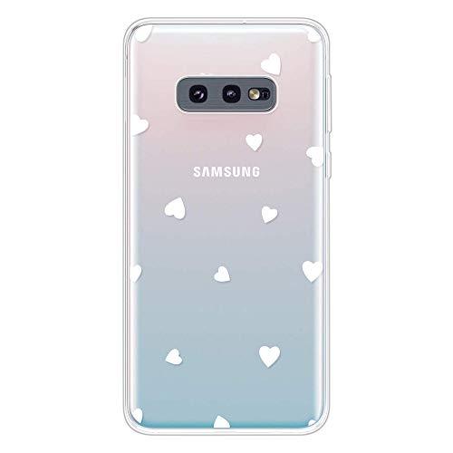 Miagon Klar Hülle für Samsung Galaxy S10e,Kreativ Silikon Case Ultra Schlank Transparente Weich Handyhülle Anti-Kratzer Stoßfest Schutzhülle,Weiß Herz