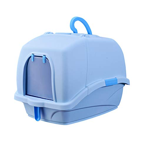 Welhome Cat Litter Box Jumbo, Petlife Cat Toilet, Hooded Cat Litter Box, PP Resin Litter Tray, Fully Enclosed Cat Kitty Litter Pan, for Cat oder Dog Use Pots,Blue,B