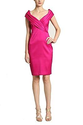 Badgley Mischka Magenta Purple Pink V-Neck Sleevless Dress