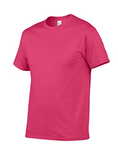 Bestgift Herren T-Shirt Kurzarm Baumwolle Tee Solide Farbe Basic Shirt Tops Rose