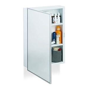 Relaxdays Spiegelschrank Bad, Hängeschrank, eintüriger Wandschrank aus Stahl, mit 3 Ablagen, HBT: 56×40,5×12,5 cm, weiß
