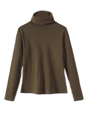 AILIENT Maglia Donna Camicetta Alta Colletto Manica Lunga Maglietta T-Shirt Blusa Slim Sexy Ufficio Army green2