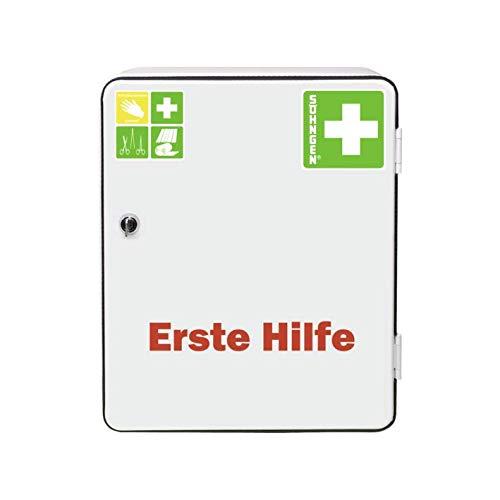 Söhngen Verbandschrank Heidelberg (Standard DIN 13157, Verbandsmaterial, Rettungsdecke, etc,  mit Sicherheitsschloss) weiß, 0501001 - Classic Schrank