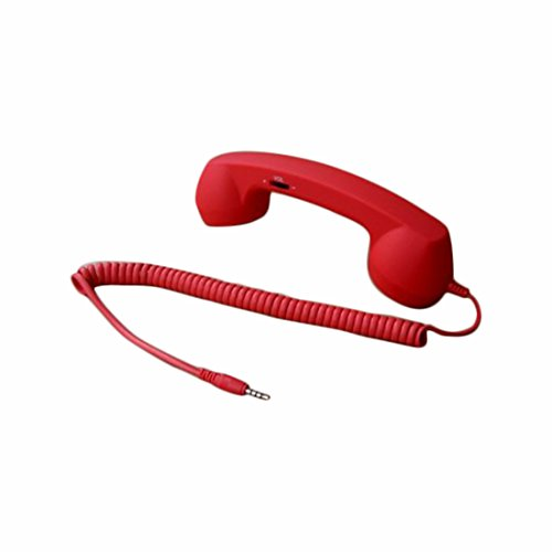 Demarkt Retro Telefonhörer Lautsprecher Handset Mikrofon Hörer Headsets für Smartphones und Handys Tablet PC,für iPhone 4 5 Galaxy Tab P1000 Asus Nexus 7 Win 8 Surface S2 S3 i9300 Rot -