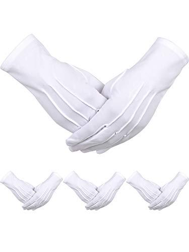 4 Paar Erwachsene Uniform Handschuhe Spandex Handschuhe Kleid Handschuh für Mann Polizei Formal Smoking Parade Kostüm (Weiß - Herren Paar Kostüm